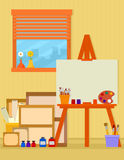 Home art studio interior for artist Royalty Free Stock Images