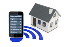 Home automation. One smartphone with an home automation app and a small house (3d render Stock Photos