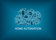 Home automation in the the cloud. Information management background as  illustration Stock Photography