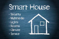 Home automation concept. Illustration of a smart house home automation control concept on a blackboard with the words security, multimedia, lights, rooms Stock Photography