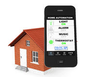 Home Automation Concept. Mobile Phone and house Stock Images