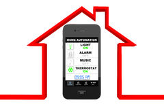 Home Automation Concept. Mobile Phone and house Royalty Free Stock Images