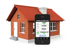 Home Automation Concept. Mobile Phone and house Stock Photo