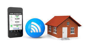 Home Automation Concept. Mobile Phone and house Stock Photography
