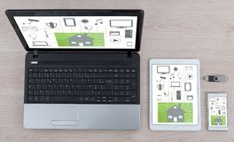 Home automation concept on different devices stock photos