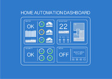 Home automation dashboard example with flat design to control water, room temperature, security and media Royalty Free Stock Photography