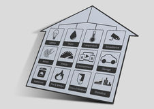 Home automation icon illustration to control a smart home like lighting, water, surveillance cameras, energy. Home automation icons to control a smart home like Stock Photos