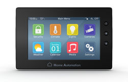 Home automation panel. One control panel for home automation system (3d render Stock Photos