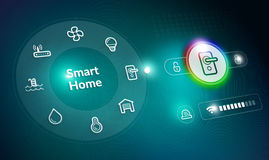 Home Automation System. Home Automation Control Panel concept with door lock setting Royalty Free Stock Photography