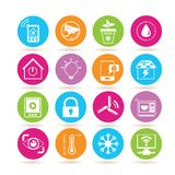 Home automation system icons. Collection of 16 home automation system icons in colorful buttons stock illustration