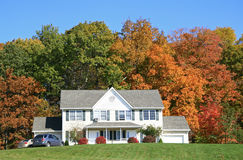 Home in the autumn. Home in New York in the autumn,surrounded by many multicolored Stock Photo