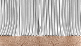 Home background. Curtains and parquet flooring Royalty Free Stock Photo