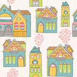 Home background. Home seamless background with house and hearts. Vector illustration Stock Images