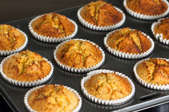 Home baked banana muffins Royalty Free Stock Images