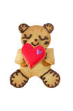 Home Baked Bear Cookie Heart on White Stock Photo