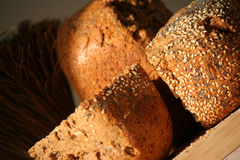 Home-baked bread. Crispy home-baked bread with sesame and poppy seeds Stock Photography