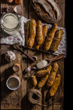 Home-baked bread sticks Stock Images