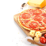 Home baked cheese and tomato pizza Royalty Free Stock Image