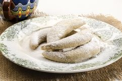 Home baked classic vanilla kipferl royalty free stock photo