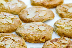 Home baked cookies with almonds Royalty Free Stock Photo