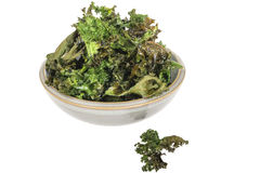 Home Baked Crispy Nutritious Kale Crisps Royalty Free Stock Photos