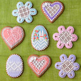 Home-baked and decorated Easter cookies Royalty Free Stock Image