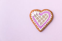 Home-baked and decorated heart shaped cookie Royalty Free Stock Images