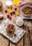 Home-baked granola with nuts, honey and pieces of fruit Royalty Free Stock Image