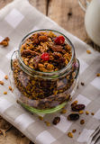 Home-baked granola with nuts, honey and pieces of fruit Stock Photo