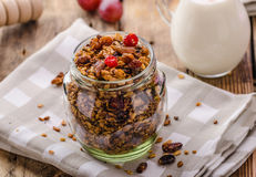 Home-baked granola with nuts, honey and pieces of fruit Royalty Free Stock Photography
