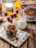 Home-baked granola with nuts, honey and pieces of fruit Royalty Free Stock Images