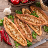 Home-baked pide. A fresh and tasty home-baked pide Stock Images