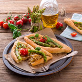 Home-baked pide with green asparagi Royalty Free Stock Image