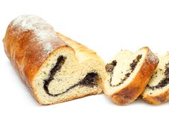Home-baked roll with poppy seeds and raisins Stock Image