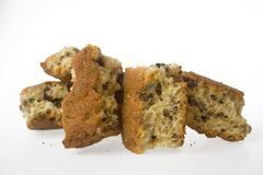 Home baked rusks. With a white background Stock Images