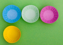 Home baking paper cake cases for cupcakes etc Stock Photo