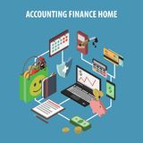 Home Bank Isometric. Home bank and personal finance concept with isometric accounting and investments icons vector illustration Stock Image