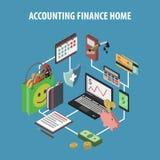 Home Bank Isometric Stock Image