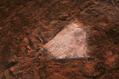 Home Base. A closeup of a battered home plate at a baseball diamond Royalty Free Stock Photography