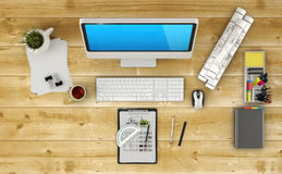 Home based business. Concept - Design of modern architect workspace. 3D Render stock photos