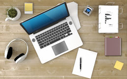 Home based business. Concept - Design of modern office workspace. 3D Render royalty free stock photography