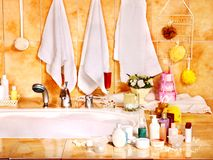 Bathroom interior with bubble bath. Royalty Free Stock Images