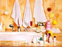Bathroom interior with bubble bath. Home bathroom interior with bubble bath royalty free stock images