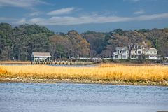 Home on the Bay. Beautiful home on the Lynnhaven Bay in Virginia Stock Photo