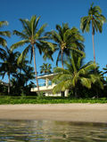Home on the Beach. View of a beautiful private home on a beach stock photos