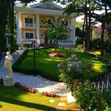 Home. Beautiful home with big green garden in the Princess island in Royalty Free Stock Images