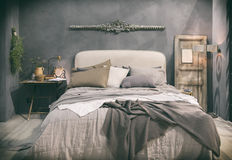 Home bedroom in country style Stock Images