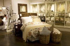 Home bedroom decor furniture store. A department store selling nice home furniture and decor Stock Photos