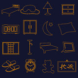 Home bedroom outline simple icons set eps10 Royalty Free Stock Photography