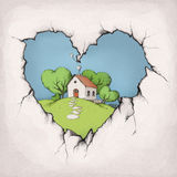 Home behind a hole in a wall. Illustration of a cute house on a hill behind a hole in a wall Royalty Free Stock Photography